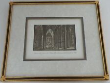 Vintage Italian etching print of Interno Del Duomo Milano limited edition framed