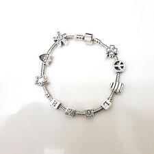 NEW Silver LOVE Star Peace Clover Murano Beads Charm Bracelet Brighton Bay