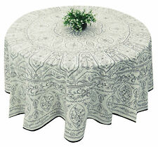 "Round Table Cloth Floral Block Print Cover Cotton White Tablecloth 70"" Diamete"