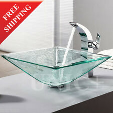 High End Bathroom Clear Glass Square Vessel Sink Bowl Super Thick 19mm BVG007
