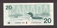 BANK OF CANADA 1991 $20 BONIN THIESSEN NOTE PREFIX EVB9057135 NO BPN CH-UNC