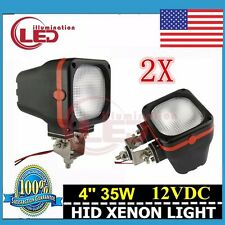 2PCS 4INCH 35W FLOOD HID XENON 4X4 6000k OFFROAD FOG MOUNT WORK LIGHTS JEEP 12V