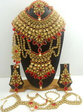 TRADITIONAL RED LCT CZ GOLD TONE NECKLACE PASSA BRIDAL DULHAN JEWELRY SET 9 PCS