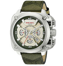 New DIESEL Mens Watch BAMF Large Analog Chronograph Olive Green Canvas Band
