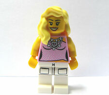 LEGO Female Girl Minifigure Figure Pink Pop Star Torso Long Blonde Wavy Hair