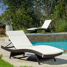 (Set of 2) Off-White Cushion Pads For Outdoor Patio Chaise Lounge Chair