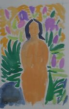 Young Nude Woman Fauvist Watercolor Painting-1969-August Mosca