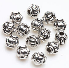 50 Tibetan Silver Lantern Charm Loose Spacer Bead Bracelet Jewelry Finding 4mm
