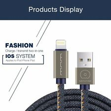 Apple iphone 7/6/5 Charger 2.0AMP Denim Blue Jeans Original USB Data fast Cable