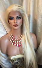 Stunning LACE FRONT Long Straight Pale Blonde Wig &Heat friendly!