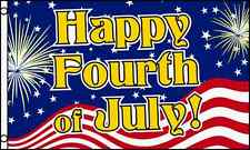 Happy Fourth of July Flag 3x5 ft 4th Independence Day Holiday Fireworks Picnic