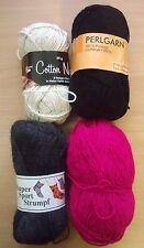 50g Feria COTTON NATUR, 50g Strumpfwolle,50g Perlgarn schwarz, 44g Perlgarn pink