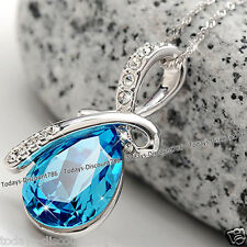 CHRISTMAS SALE - Silver & Blue Tear Crystal Necklace Ladies Women Gifts For Her