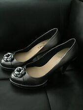 CHANEL Metallic Leather Camellia CC Logo Pumps Heels Platforms 39.5 8.5 9