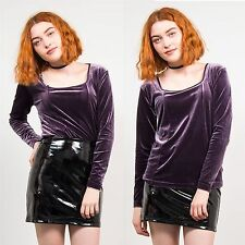 RETRO H&M PURPLE SQUARE NECK TOP VELVET GRUNGE 90'S STYLE RETRO LONG SLEEVE 14