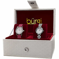Women's Burgi BUR133SS Silver-tone Quartz Swarovski Crystal Leather Watch Set