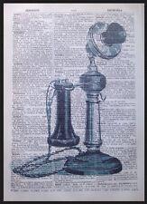 Teléfono Vintage 1933 página de Diccionario Pared Arte Imagen Teléfono industrial Hipster