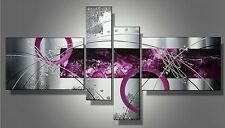 4P Silver Purple Modern Abstract Hand Painted Oil Painting Canvas Wall Decor Art