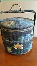 Primitive Wicker Basket, Sewing~Chinese Wedding~Hand Painted, Double Stacked