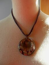 3 CORD STRAND HANDMADE ART GLASS PENDANT NECKLACE