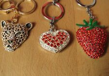 3 lovely sparkly bling gemstone keyrings / keychains. Leopard, heart, strawberry