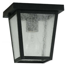 Feiss Outdoor Ceiling Light Black Lantern Glass Deck Porch Roof Lamp Fixture NEW