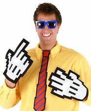 Video Game Gamer Pixel-8 Costume Nerd Pixel Hand Computer Mouse Pointer Gloves