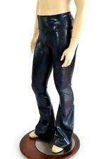 SMALL Mens Black Holographic Bootcut Spandex Disco Rave Pants Ready To Ship!