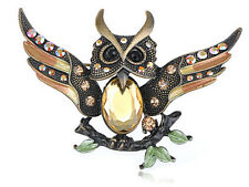 Antique Copper Tone Topaz Crystal Rhinestone Enamel Owl Bird Pin Brooch B0414
