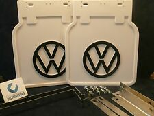 VW BUS MUD FLAPS WHITE WITH  BRACKETS (PAIR) 1952-1979 FITS ALL BUS 211821805W