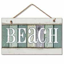 Beach Wall Plaque Sign Coastal Decor Theme Weathered Wood Rope Hanging