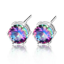 2015 Newest Jewelry Colored Mystic Topaz Gemstone Silver Stud-Earrings 3/8 Inch