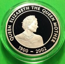2004 UGANDA .999 SILVER PROOF THE QUEEN MOTHER,PROFILE PORTRAIT+CAPSULE