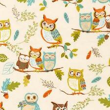 Fat Quarter Forest Fellows Nature Owls 100% Cotton Quilting Fabric Antique White