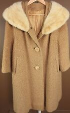 Vintage 50s Heavy Wool Trench Pea Over Coat Jacket Tan Womens M-L