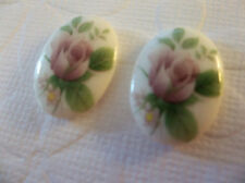 Vintage Pink Rose Cameos 18X13mm on Glass Cabochons Chalkwhite Base - Qty 6