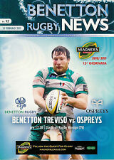 Benetton Treviso v Ospreys Magners League 19 Feb 2011 RUGBY PROGRAMME