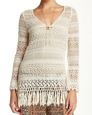 Johnny Was 4 Love & Liberty Ivory Ecru Crochet Lace Knit Tunic Top NWT ~ L