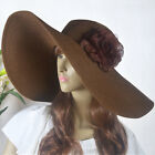 Lady Wide Brim Hat Kentucky Derby Hat Floral Beach Hat 17cm Straw