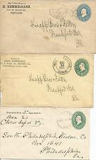3 Ganzsachen-Umschläge mit besseren Handstempeln aus 1888 u. 1894