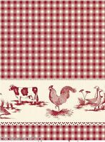 FARM RED VINYL OILCLOTH WIPEABLE PVC WIPE CLEAN TABLE CLOTH CO click for sizes