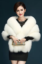 White Elegant Womens Faux Mink Fur Shawl Shrug Weddings Wrap Cape Evening Coat