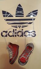 "ADIDAS Logo & Sneakers HOT IRON ON TRANSFER  Patch Large 12"" x 7 "" Nice"