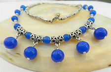 LOVELY NATURAL BLUE JADE ROUND BEADS PENDANTS & TIBET SILVER NECKLACE 18""