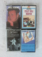 4  CASSETTES by CHARLIE BARNET,LES BROWN,JELLY ROLL MORTON,MELTORME
