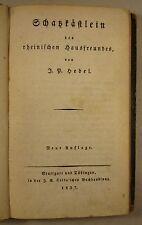 JOHANN PETER HEBEL: SCHATZKÄSTLEIN DES RHEINISCHEN HAUSFREUNDES, Cotta 1827