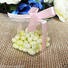 "50pcs 2"" Clear PVC Wedding Party Baby Shower Favor Gift Craft Boxes"