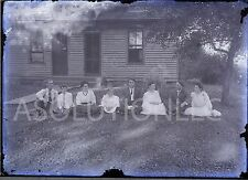 Vintage Black White Glass Plate Negative Family Sitting in the Grass 1800s?