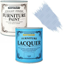 Rust-Oleum Chalky Furniture Paint Chic Shabby 125ml Powder Blue Clear Lacquer