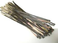 50 x STAINLESS STEEL CABLE TIES - WIDE Size 7.6mm x 360mm (Exhaust Heat Wrap)